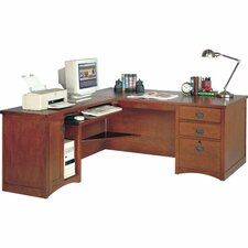 <strong>kathy ireland Home by Martin Furniture</strong> Computer Desk for Left Hand Facing Keyboard Return with Pencil Drawer