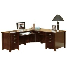 Tribeca Loft Cherry Left Hand Facing Computer Desk with Hutch