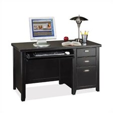 <strong>kathy ireland Home by Martin Furniture</strong> Tribeca Loft Black Single Pedestal Computer Desk