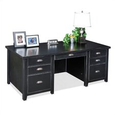Tribeca Loft Black Double Pedestal Executive Desk