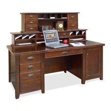 Tribeca Loft Executive Desk with Reception Hutch