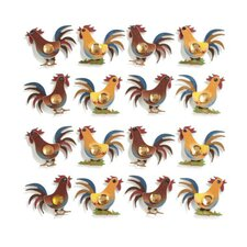 Repeats Rooster Stickers