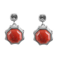 Batik Asscher Cut Howlite Drop Earrings