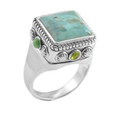 Legacy Bronze with Silver Overlay Gemstone Square Ring