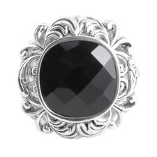 Hollywood Sterling Scroll Faceted Onyx Ring