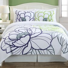 <strong>Echelon Home</strong> Floral Sketch 3 Piece Duvet Cover Set