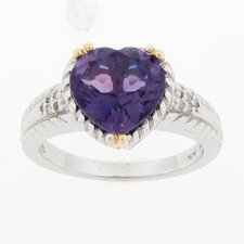 Sterling Silver and Yellow Gold Ring Amethyst Heart and Diamond Ring