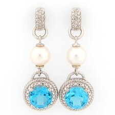 Rope Design Topaz, Cultured Pearl and Diamond Accents Dangle Earrings