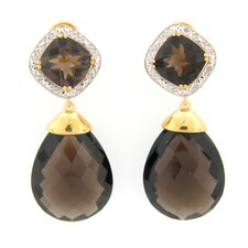 Smoky Topaz and Diamond Dangle Earrings