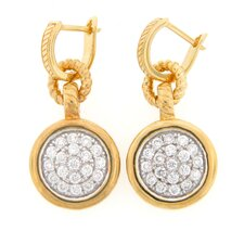 Rope Design Cubic Zirconia Dangle Earrings