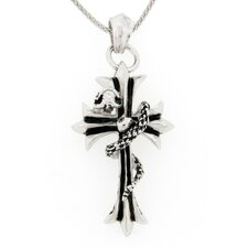 Sterling Silver Goth Cross Pendant and Chain