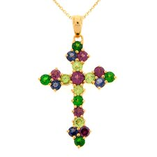 Multi Gemstone Cross Pendant