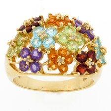 Sterling Silver Multi Gemstone and Diamond Flower Ring