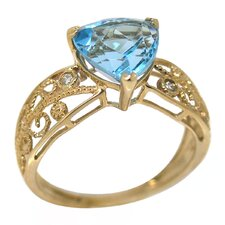 Genuine Yellow Gold Trillion Cut Blue Topaz Ring