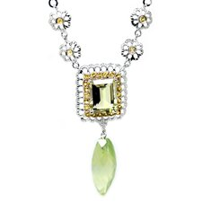 Genuine White Gold Lemon Quartz Pendant Necklace