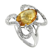 Genuine White Gold Oval Cut Citrine Ring