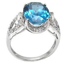 <strong>DeBuman</strong> White Gold Oval Cut Blue Topaz Ring