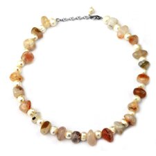 Agate and Cultured Pearl Necklace