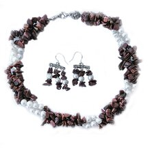 Gemstone and Cultured Pearl Necklace and Earring Set
