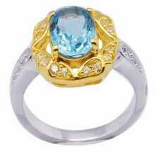 <strong>DeBuman</strong> 18K Gold and Silver Oval Cut Topaz and Cubic Zirconia Ring