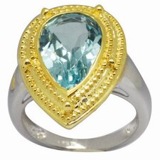 18K Gold and Silver Pear Cut Topaz Ring