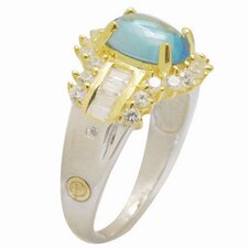 18K Gold and Silver Oval Cut Topaz and Cubic Zirconia Ring