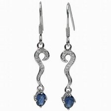 Oval Cut Sapphire and Cubic Zirconia Dangle Earrings