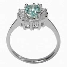 Sterling Silver Round Cut Aquamarine and Cubic Zirconia Ring