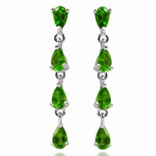 <strong>DeBuman</strong> Pear Cut Diopside Dangle Earrings