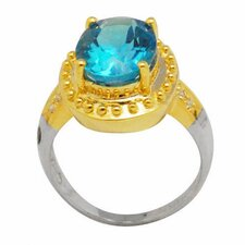 18K Gold and Sterling Silver Oval Swiss Topaz and Zircon Ring
