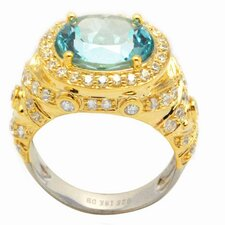 <strong>DeBuman</strong> 18K Gold and Sterling Silver Oval Sky Topaz and Zircon Ring
