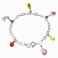 Enamel Animal and House Charm Bracelet