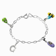 Enamel Babyshoe and Bee Charm Bracelet