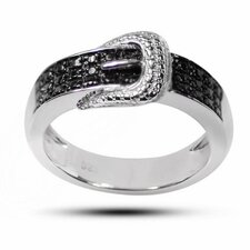 925 Silver Accent Belt Buckle Diamond Ring