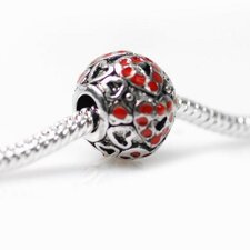 <strong>DeBuman</strong> Enamel Heart Fashion Charm Bead
