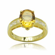 925 Silver Oval Cut Genuine Gemstone and Cubic Zirconia Ring