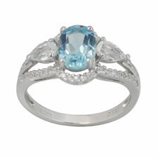Sterling Silver Oval Gemstone Ring