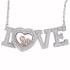 Sterling Silver Cubic Zirconia and Crystal Love Necklace