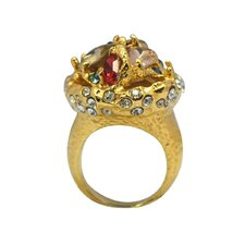 <strong>DeBuman</strong> 14K Goldplated Gemstone Multi-Stone Ring
