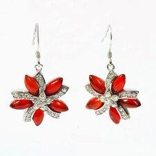 Flower Gemstone Drop Earrings