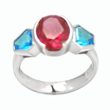 Sterling Silver Oval Birthstone Ring