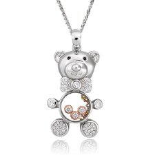 Two-Tone Sterling Silver Bear Gemstone Necklace