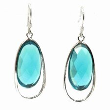 Oval Cut Agate Drop Earrings