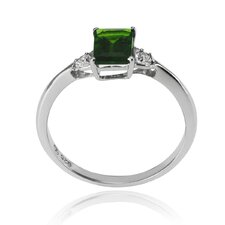 Genuine Sterling Silver Round Diopside Ring