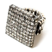 Gunmetal Plated Crystal Union Square Ring