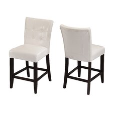 Bossa Counter Height Parsons Stool with White Leatherette Seat (Set of 2)