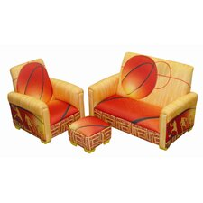 Basketball Slam Dunk Toddler Sofa, Club Chair and Ottoman Set
