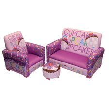<strong>Newco Kids</strong> Cup Cake Collection Lavender Toddler Sofa, Club Chair and Ottoman Set