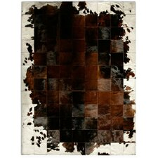 Patchwork Cowhide Park Corbu Brown Area Rug