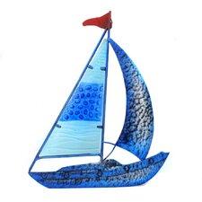 Sailboat Blue Metal Wall Art